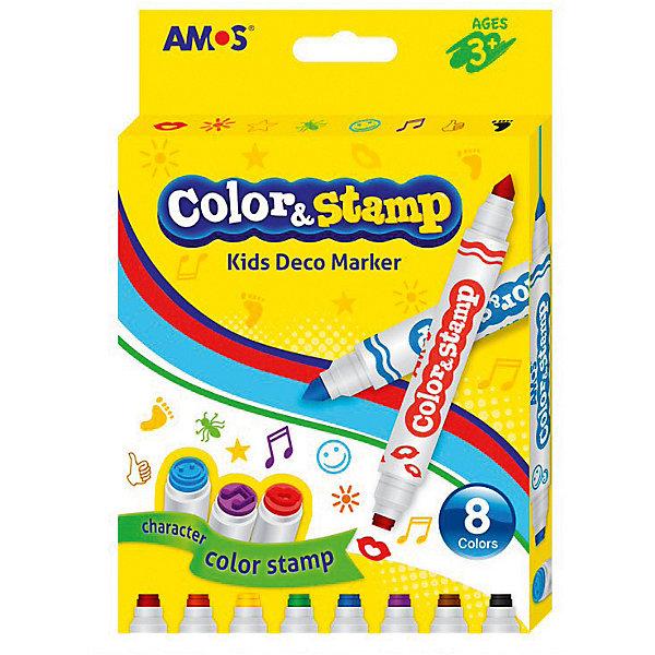 Amos Маркеры со штампами Amos двухсторонние, 8 цветов
