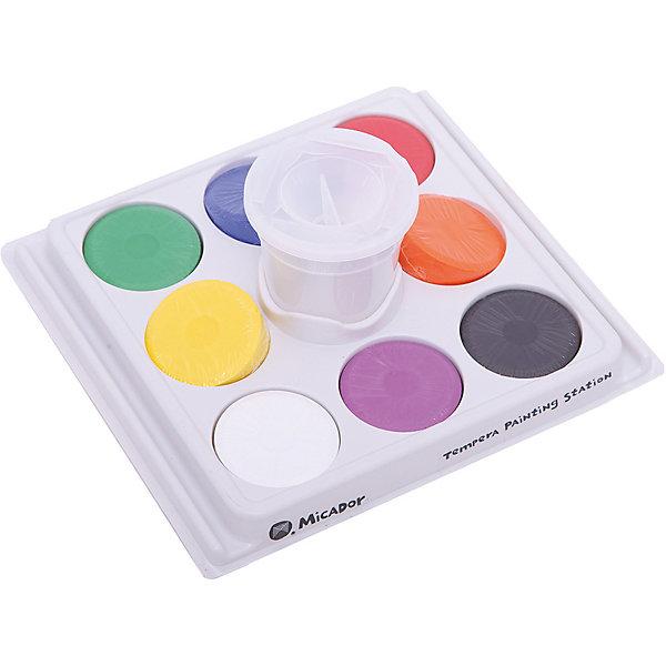 Micador Набор для рисования Micador: паллетка, стакан, гуашевая краска 8 шт micador краска пальчиковая цвет красный 250 мл