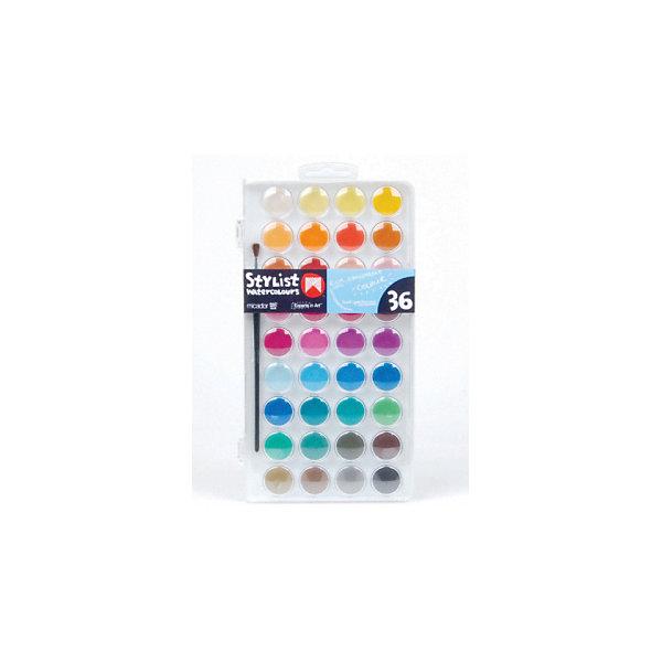 Акварельные краски Micador, 36 цветовКраски<br>Характеристики товара:<br><br>• возраст: от 3 лет;<br>• состав: краска, пластик, синтетическмй материал;<br>• консистенция краски: твердая;<br>• тип краски: акварель;<br>• количество: 36 шт;<br>• комплект: набор красок, кисточка;<br>• размер упаковки: 1,6х1х0,3 см.;<br>• вес: 680 гр.;<br>• упаковка: пластмассовый пенал.<br><br>Краски акварельные идеально подойдут для детского художественного творчества, изобразительных и оформительских работ.<br><br>36 необычных ярких цветов с кисточкой для маленьких художников.<br><br>Удобная упаковка, защищающая каждый блок краски бортиком.<br><br>Безопасный состав, полупрозрачная нежная текстура и повышенная пигментация.<br><br>Краски легко смываются водой.<br><br>Рисование развивает творческие способности, воображение, логику, память, мышление.<br><br>Стильные акварельные краски можно купить в нашем интернет-магазине.<br>Ширина мм: 16; Глубина мм: 10; Высота мм: 3; Вес г: 680; Цвет: разноцветный; Возраст от месяцев: 36; Возраст до месяцев: 2147483647; Пол: Унисекс; Возраст: Детский; SKU: 8417562;