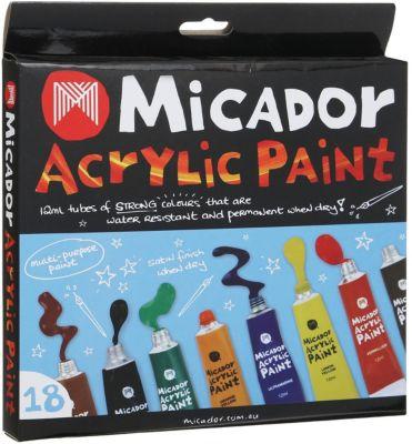 Акриловые краски Micador, 18 цветов по 12 мл, артикул:8417588 - Рисование и лепка