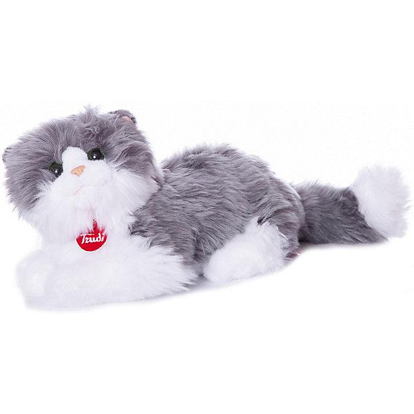 Trudi Мягкая игрушка Trudi Серо-белая кошка Клотильда, 35 см лежачая мягкие игрушки trudi лайка маркус 34 см