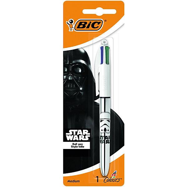 Ручка шариковая 4 в 1 BIC «Star Wars»Ручки<br>Характеристики: <br><br>• возраст: от 6 лет;<br>• тип ручки: шариковая;<br>• количество цветов: 4;<br>• диаметр пишущего узла: 1 мм;<br>• толщина линии: 0,32 мм;<br>• размер ручки: 15х1,5х1 см;<br>• размер упаковки: 1,8х6,5х19,7 см;<br>• вес упаковки: 35 гр;<br>• страна бренда: Франция.<br><br>Ручка шариковая 4 в 1 BIC «Star Wars» (Бик «Стар Вордс») - знаменитый бестселлер в новом дизайне Star Wars. Автоматическая шариковая ручка с тонким пишущим узлом и возможностью замены стержней. В одной ручке находятся 4 стержня с разными цветами чернил: черные, синие, красные и зеленые чернила. <br><br>Округлый широкий корпус поможет удобно пользоваться ручкой. Шарик диаметром 1 мм. позволяет чертить красивые тонкие линии толщиной 0,32 мм.<br><br>Ручка шариковая 4 в 1 BIC «Star Wars» (Бик «Стар Вордс») можно купить в нашем интернет магазине.<br>Ширина мм: 65; Глубина мм: 197; Высота мм: 18; Вес г: 19; Цвет: синий; Возраст от месяцев: 60; Возраст до месяцев: 2147483647; Пол: Унисекс; Возраст: Детский; SKU: 8422142;