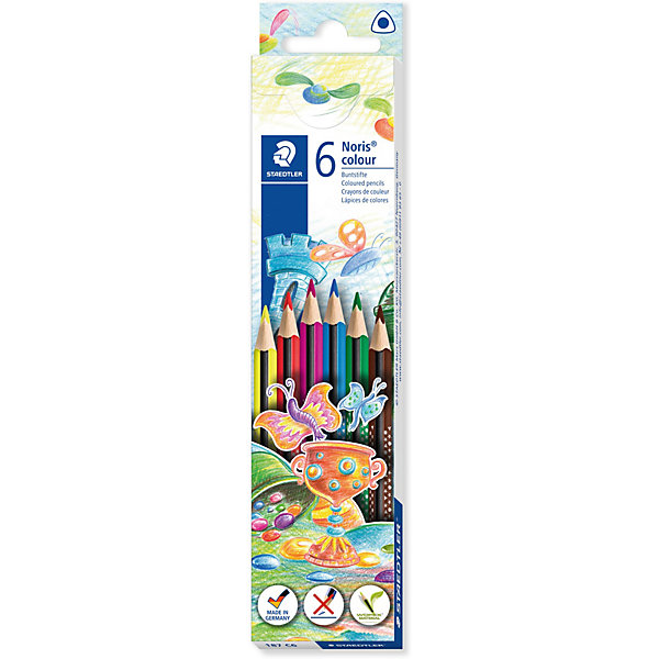 Набор цветных карандашей Staedtler «Noris Colour», 6 цветовКарандаши<br>Характеристики: <br><br>• возраст: от 3 лет;<br>• в комплекте: 6 карандашей;<br>• количество цветов: 6;<br>• грифель диаметр: 3 мм;<br>• упаковка: коробка с европодвесом;<br>• размер упаковки: 20х4,4х0,9 см;<br>• вес упаковки: 54 гр;<br>• страна бренда: Германия.<br><br>Набор цветных карандашей Staedtler «Noris Colour» (Стедтлер «Норис Колор») имеют привлекательный дизайн Звезды с полем для имени. Высокое качество письма, рисования, эскизов. Нескользящая, бархатистая поверхность; особенно ударопрочный корпус и грифель. Текст и рисунки легко стереть.<br><br>Набор цветных карандашей Staedtler «Noris Colour» (Стедтлер «Норис Колор»), 6 цветов можно купить в нашем интернет-магазине.<br>Ширина мм: 200; Глубина мм: 44; Высота мм: 9; Вес г: 54; Цвет: разноцветный; Возраст от месяцев: 36; Возраст до месяцев: 2147483647; Пол: Унисекс; Возраст: Детский; SKU: 8422166;