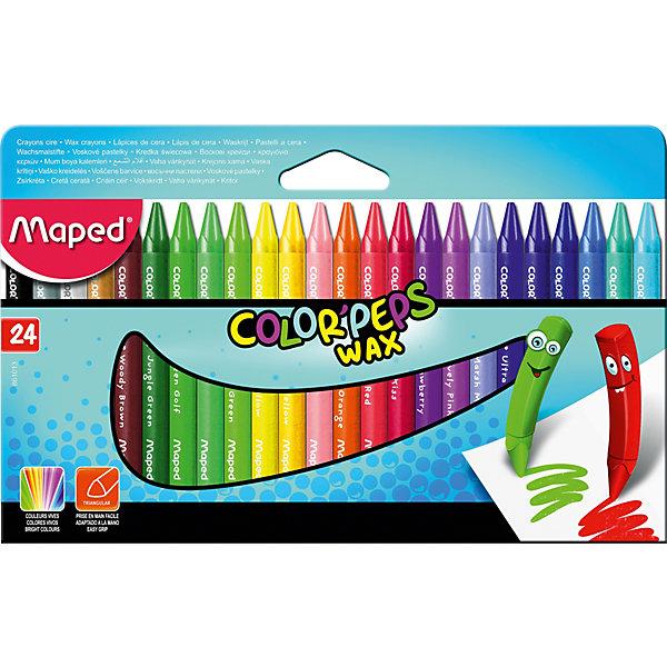 Мелки восковые Maped «Colorpeps Wax», 24 цветаМасляные и восковые мелки<br>Характеристики: <br><br>• возраст: от 3 лет;<br>• в комплекте: 24 мелка;<br>• тип мелков: восковые;<br>• количество цветов: 24;<br>• количество граней: 3;<br>• картонная упаковка с европодвесом;<br>• размер упаковки: 10х12,1х1,8 см;<br>• вес упаковки: 117 гр;<br>• страна бренда: Франция.<br><br>Мелки восковые 24 цвета - расширенная палитра. Треугольный корпус в защитном бумажном футляре. Яркие и насыщенные цвета. Мелки удобные и мягкие. Бумажное покрытие не дает рукам пачкаться. Треугольная форма обеспечивает легкое удерживание в руке. Идеально для раскрашивания и рисования, подходит для школ и детских учебных учреждений.<br><br>Мелки восковые Maped «Colorpeps Wax» (Мэпед «Калор ПепсВэкс»), 24 цвета можно купить в нашем интернет-магазине.<br>Ширина мм: 100; Глубина мм: 121; Высота мм: 18; Вес г: 117; Цвет: разноцветный; Возраст от месяцев: 36; Возраст до месяцев: 2147483647; Пол: Унисекс; Возраст: Детский; SKU: 8422170;