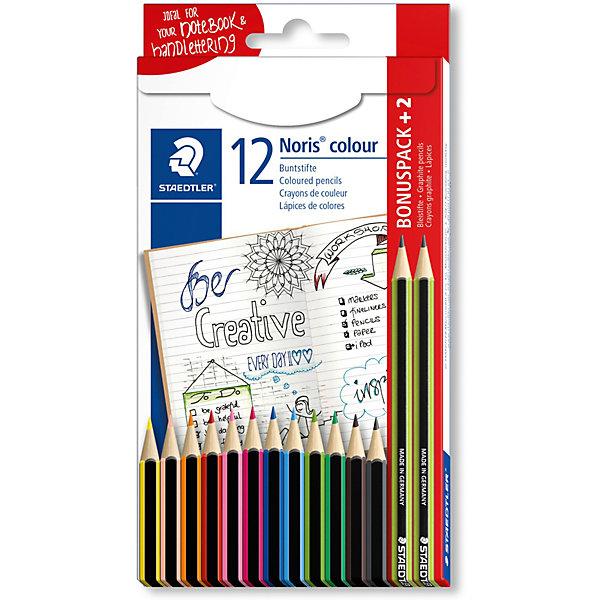 Набор цветных карандашей  Staedtler «Noris Colour», 12 цветов + 2 чернографитовых карандашаКарандаши<br>Характеристики: <br><br>• возраст: от 3 лет;<br>• в комплекте: карандаши 12 цветов, 2 чернографитовых карандаша;<br>• количество цветов: 12;<br>• грифель диаметр: 3 мм;<br>• размер упаковки: 19,7х10,1х0,9 см;<br>• вес упаковки: 130 гр;<br>• упаковка: коробка с европодвесом;<br>• страна бренда: Германия.<br><br>Набор цветных карандашей  Staedtler «Noris Colour» (Стедтлер «Норис Колор»)имеют шестигранный корпус, стандартного размера для всех возрастных групп. Прочные грифели сочных цветов. Текст и рисунки легко стереть. Карандаши имеют специальное лакированное покрытие.<br><br>Набор цветных карандашей  Staedtler «Noris Colour» (Стедтлер «Норис Колор»), 12 цветов + 2 чернографитовых карандашаможно купить в нашем интернет-магазине.<br>Ширина мм: 197; Глубина мм: 101; Высота мм: 9; Вес г: 130; Цвет: разноцветный; Возраст от месяцев: 36; Возраст до месяцев: 2147483647; Пол: Унисекс; Возраст: Детский; SKU: 8422188;
