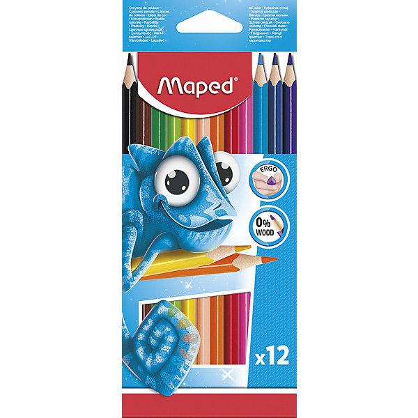 Карандаши цветные Maped «Pulse», 12 цветовКарандаши<br>Характеристики: <br><br>• возраст: от 3 лет;<br>• в комплекте: 12 карандашей;<br>• количество цветов: 12;<br>• количество граней: 3;<br>• твердость грифеля: мягкий;<br>• диаметр грифеля: 2,9 мм;<br>• размер упаковки: 20х8,5х8 см;<br>• вес упаковки: 88гр;<br>• страна бренда: Франция.<br><br>Набор цветных карандашей из 12 цветов. Карандаши изготовлены из пластика высокого качества. Карандаши соответствуют всем европейским и российским стандартам. <br><br>Карандаши имеют прочный грифель. Эргономичные: карандаши треугольной формы легче держать в руке, просто и удобно использовать. Представленные карандаши обладают сочными и насыщенными цветами.<br><br>Карандаши цветные Maped «Pulse» (Мэпед «Пульс»), 12 цветов можно купить в нашем интернет-магазине.<br>Ширина мм: 200; Глубина мм: 85; Высота мм: 8; Вес г: 88; Цвет: разноцветный; Возраст от месяцев: 36; Возраст до месяцев: 2147483647; Пол: Унисекс; Возраст: Детский; SKU: 8422190;