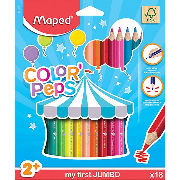 Карандаши цветные Maped «Color peps Jumdo», 18 цветовКарандаши<br>Характеристики: <br><br>• возраст: от 2 лет;<br>• в комплекте: 18 карандашей;<br>• количество граней: 3;<br>• количество цветов: 18;<br>• твердость грифеля: твердо-мягкий;<br>• диаметр грифеля: 4,7 мм;<br>• размер упаковки: 22х20х2 см;<br>• вес упаковки: 220 гр;<br>• страна бренда: Франция.<br><br>Карандаши цветные Maped «Color peps Jumdo» (Мэпед «Калор Пепс Джумбо) из американской липы c эргономичной треугольной формой. Грифель карандашей ударопрочный. <br><br>Карандаши яркие, корпус большого диаметра специально для детской руки. Карандаши имеют толстый грифель диаметром 4,7 мм и легко затачиваются.<br><br>Карандаши цветные Maped «Color peps Jumdo» (Мэпед «Калор Пепс Джумбо), 18 цветов можно купить в нашем интернет-магазине.<br>Ширина мм: 215; Глубина мм: 217; Высота мм: 15; Вес г: 206; Цвет: разноцветный; Возраст от месяцев: 24; Возраст до месяцев: 2147483647; Пол: Унисекс; Возраст: Детский; SKU: 8422208;