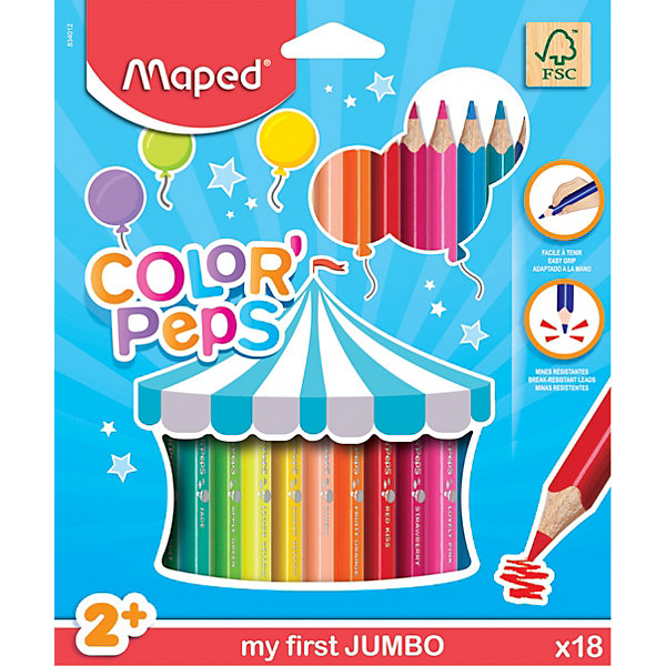 Maped Карандаши цветные Maped «Color pep's Jumdo», 18 цветов карандаши цветные evolution 18 цветов b937513