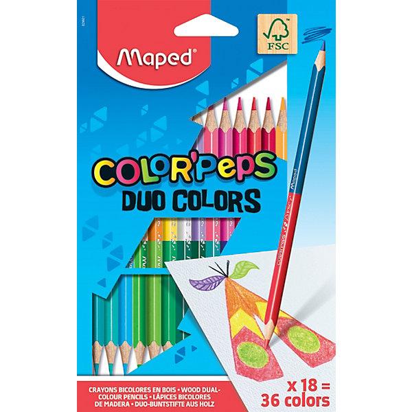 Карандаши цветные Maped «Color' peps Duo», 36 цветов, 18 шт., Китай, разноцветный, Унисекс  - купить со скидкой