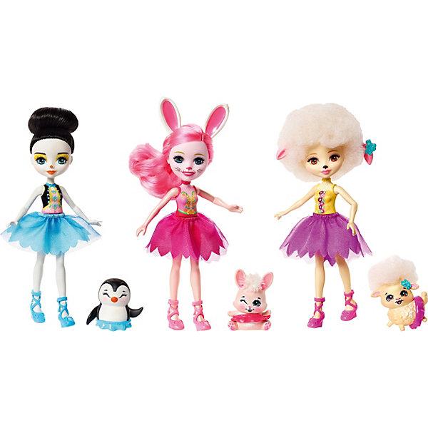 Набор кукол Enchantimals Волшебные балерины, 3 штНаборы с куклой<br>Характеристики:<br><br>• возраст: от 3 лет;<br>• материал: пластик, текстиль;<br>• комплектация: 3 куклы, 3 зверюшки, сертификат подлинности;<br>• размер: 32,5х29х5,5 см;<br>• вес: 350 гр; <br>• бренд: Mattel.<br><br>Замечательным подарком девочке станет Игровой набор из трех кукол Enchantimals  Волшебные балерины от бренда Mattel. С таким игровым набором можно создать большое количество сюжетных игр для вашей малышки и в компании с подружками.<br><br>Игровой набор Enchantimals из трех кукол со зверюшками живут в зачарованном лесу. Да и сами они сказочные! Девочки и их зверята вместе словно составляют единое целое: каждая девочка невероятно похожа на своего питомца. Они не только дружат и веселятся, но и помогают друг другу охранять зачарованный лес. У всех персонажей есть своё имя, характер и история. Как же здорово получить себе сразу трёх кукол с питомцами!<br>Ширина мм: 331; Глубина мм: 220; Высота мм: 53; Вес г: 293; Возраст от месяцев: 48; Возраст до месяцев: 108; Пол: Женский; Возраст: Детский; SKU: 8422419;