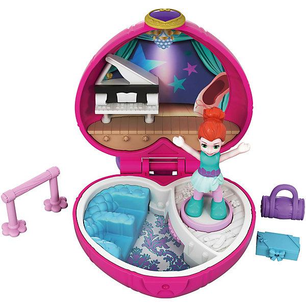 Игровой набор Polly Pocket Smart Stick, розовое сердцеИгровые наборы с фигурками<br>Характеристики товара:<br> <br>• материал: пластик<br>• в комплекте: шкатулка, фигурка, аксессуары<br>• упаковка: блистер на картоне<br>• страна бренда: США<br> <br>Фигурка с различными тематическими аксессуарами, которые легко помещаются в шкатулку. На неё имеется специальное кольцо, при помощи которого игрушка крепится к сумке или рюкзаку, что позволяет брать набор с собой. Внутри расположены три дополнительных игровых элемента, а также две подвижных детали. Не рекомендуется малышам из-за содержания маленьких частей. Развивает коммуникативные навыки, воображение, мелкую моторику и творческие способности.