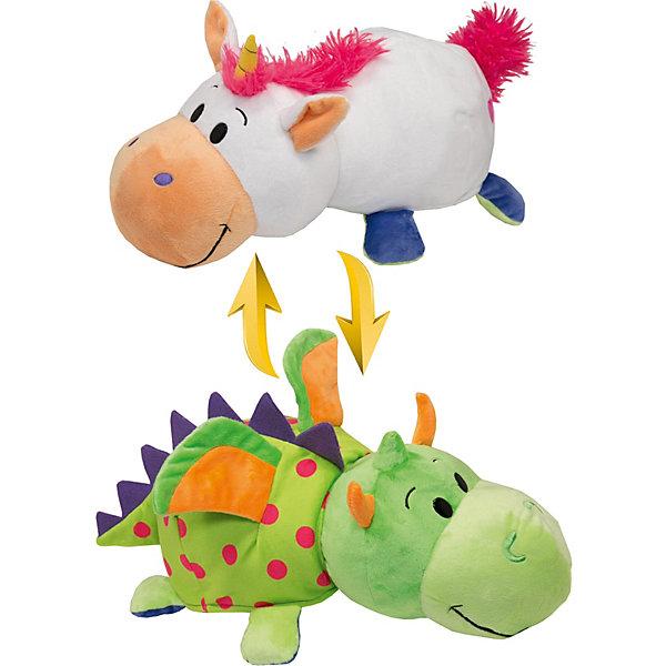 Мягкая игрушка-вывернушка 1toy Единорог - Дракон, 40 см, Разноцветный