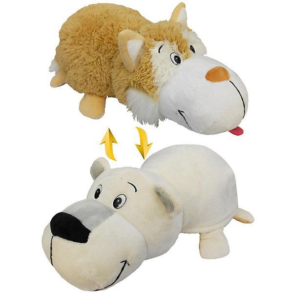 1Toy Мягкая игрушка-вывернушка 1toy Бежевый хаски - Полярный медведь, 40 см
