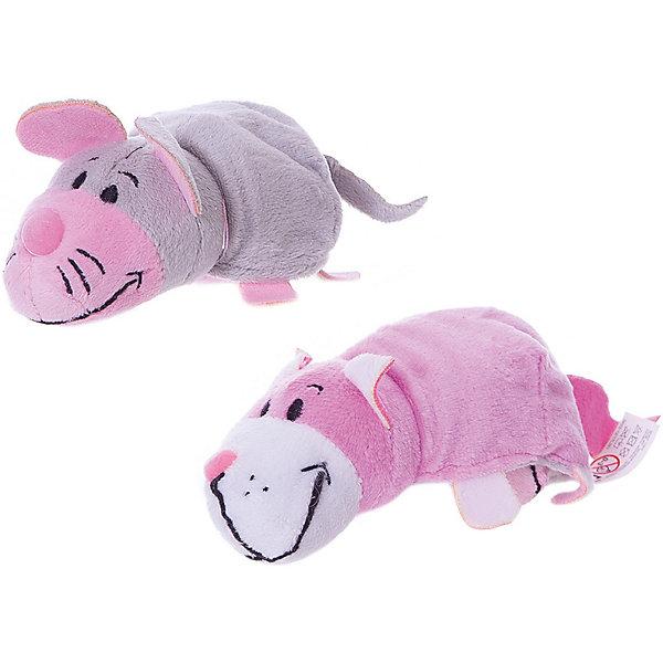 1Toy Мягкая игрушка-вывернушка 1toy Розовый кот - Мышка, 12 см