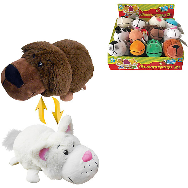 1Toy Мягкая игрушка-вывернушка 1toy Шоколадный лабрадор - Белый кот, 20 см