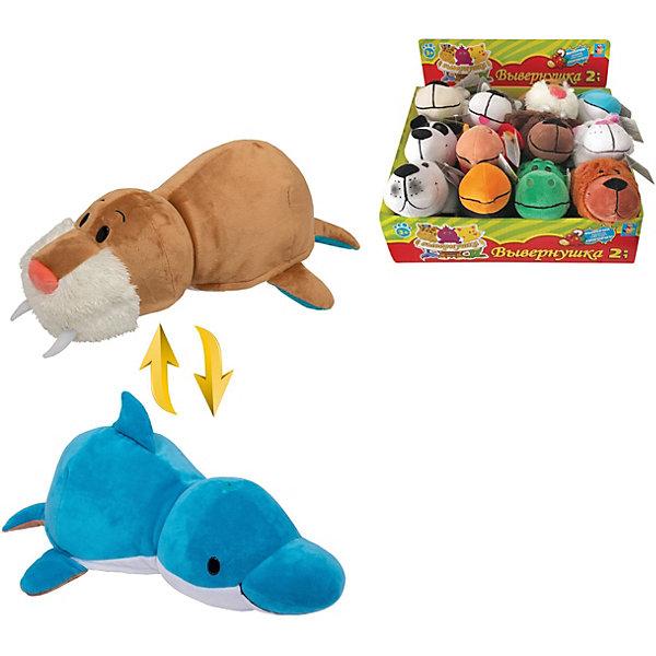 1Toy Мягкая игрушка-вывернушка 1toy Морж - Дельфин, 20 см плюшевая игрушка вывернушка пингвин морж 20см