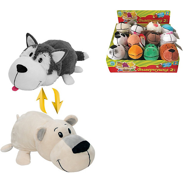 Мягкая игрушка-вывернушка 1toy Хаски - Полярный медведь, 20 см, Разноцветный