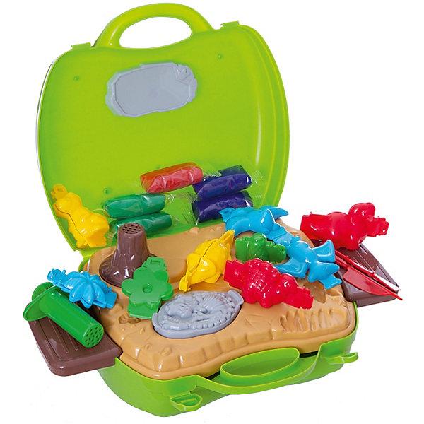 Игровой набор с тестом для лепки 1toy Мир Динозавров, 26 предметовДругие наборы<br>Характеристики:<br><br>• возраст: от 3 лет;<br>• материал: пластик, металл;<br> • цвет: салатовый;<br>• комплектация: чемоданчик, 10 формочек, 5 пакетиков с тестом для лепки, наклейки, подставка;<br>• вес: 692 гр;<br>• размер: 24х10,4х22,6 см;<br>• страна бренда: Россия;<br>• бренд:  1 TOY.<br><br>Набор в чемоданчике с тестом для лепки  «Мир Динозавров» 26 предметов понравится всем детям от 3 лет. В наборе есть множество предметов, каждый из которых привлекает внимание малыша. После игры все предметы удобно сложить в чемоданчик.<br><br>Набор в чемоданчике с тестом для лепки  «Мир Динозавров» 26 предметов можно купить в нашем интернет-магазине.<br>Ширина мм: 240; Глубина мм: 104; Высота мм: 226; Вес г: 692; Цвет: разноцветный; Возраст от месяцев: 60; Возраст до месяцев: 2147483647; Пол: Унисекс; Возраст: Детский; SKU: 8422657;