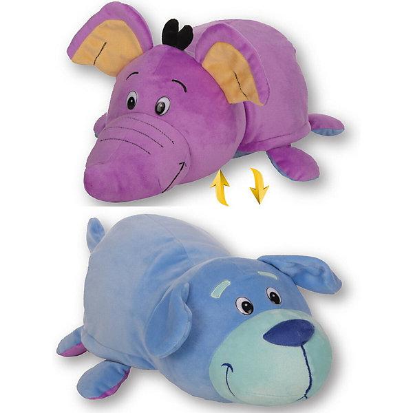1Toy Мягкая игрушка-вывернушка 1toy Голубой щенок - Фиолетовый слон, 40 см