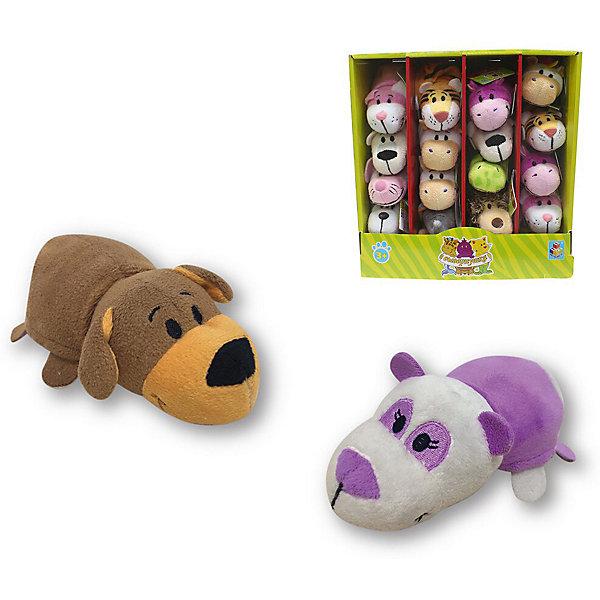 1Toy Мягкая игрушка-вывернушка 1toy Коричневая собака - Фиолетовая панда, 12 см