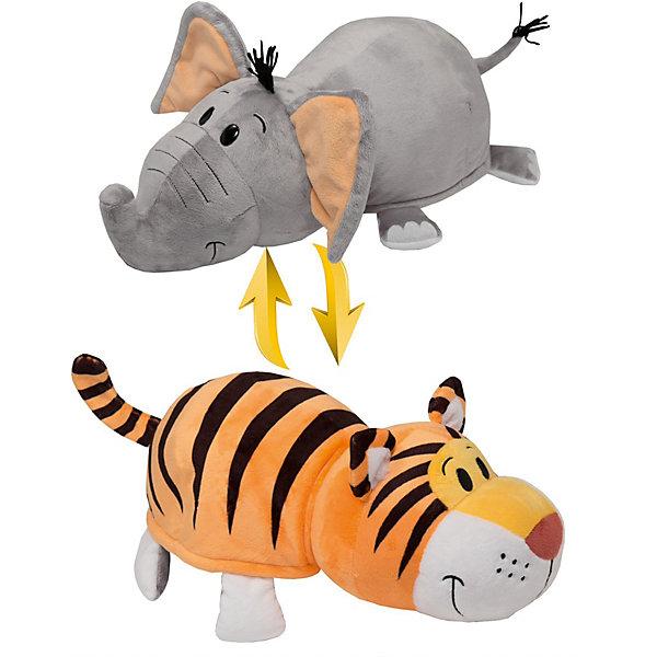 1Toy Мягкая игрушка-вывернушка 1toy Тигр - Слон, 40 см плюшевая игрушка вывернушка слон тигр 35см