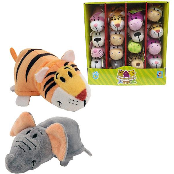 1Toy Мягкая игрушка-вывернушка 1toy Слон - Тигр, 12 см плюшевая игрушка вывернушка слон тигр 35см
