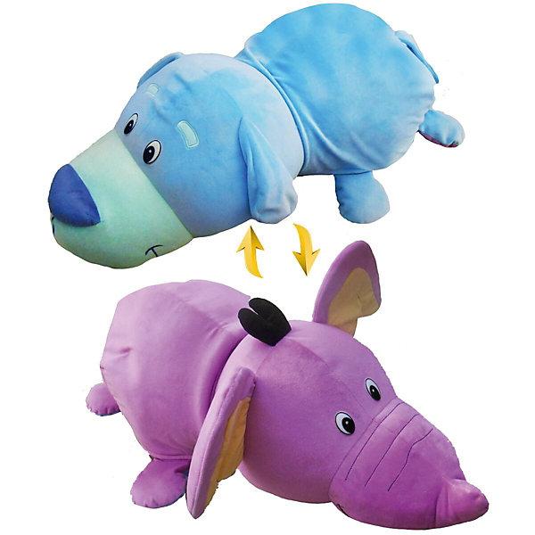 Мягкая игрушка-вывернушка 1toy Голубой щенок - Фиолетовый слон, 76 см