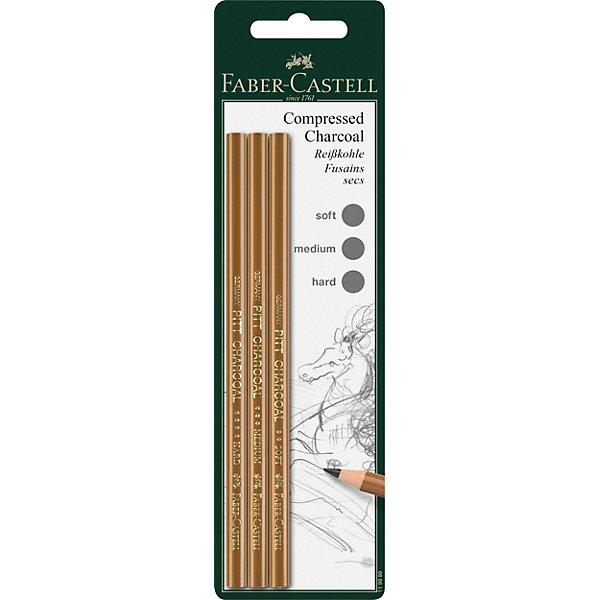Faber-Castell Прессованный уголь-карандаш Fabler-Castell «Pitt Monochrome», 3 шт