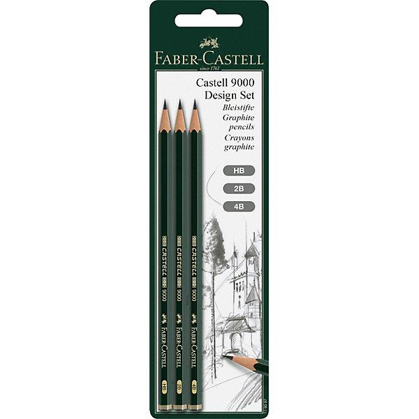 Faber-Castell Чернографитовый карандаш Fabler-Castell «Castell 9000», 3 шт faber castell чернографитовый карандаш triangular цвет корпуса черный белый мотив корова 3 шт ластик в блистере