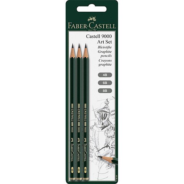 Faber-Castell Чернографитовый карандаш Fabler-Castell «Castell 9000», 3 шт