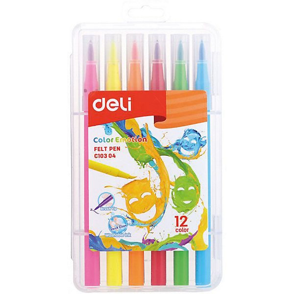 Deli Фломастеры Deli Color Emotion, 12 цветов free shipping deli 0451 candy color stitching machine set mini stapler belt clip staples attached manual mini stapler