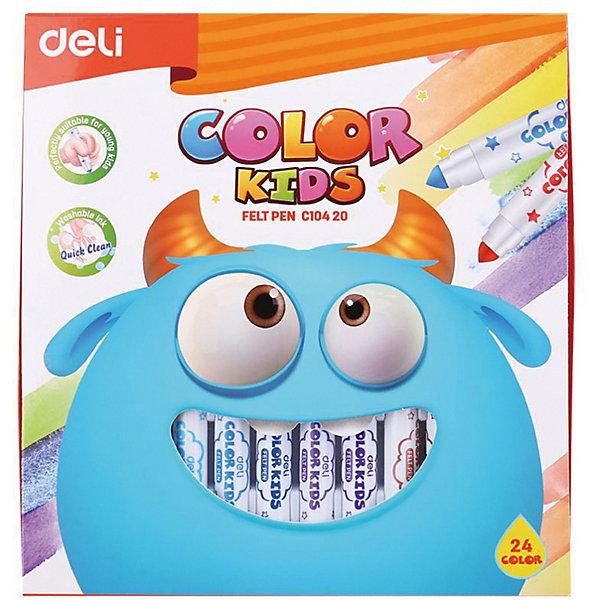 Deli Смываемые фломастеры Deli Color Kids, 24 цветов фломастеры bic kids visa 18 цветов