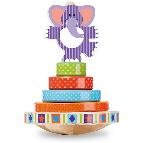 Пирамидка Melissa &amp; Doug СлоникДеревянные игрушки<br>Характеристики товара:<br><br>• возраст: от 1 года;<br>• материал: дерево;<br>• в комплекте:  основание, 6 деталей;<br>• размер упаковки: 21х14х14 см;<br>• вес упаковки: 540 гр.;<br>• страна бренда: США.<br><br>Оригинальная пирамидка сразу привлечет внимание ребенка своим необычным дизайном. На основание со штырьком детки могут надевать деревянные колесики разного диаметра и фигурку забавного слоника, стоящего на одной ноге. Благодаря полукруглому основанию дети могут играть с пирамидкой как с балансиром.<br><br>Пирамидка Melissa &amp; Doug Слоник можно купить в нашем интернет-магазине.<br>Ширина мм: 206; Глубина мм: 135; Высота мм: 135; Вес г: 544; Цвет: разноцветный; Возраст от месяцев: 12; Возраст до месяцев: 2147483647; Пол: Унисекс; Возраст: Детский; SKU: 8427072;
