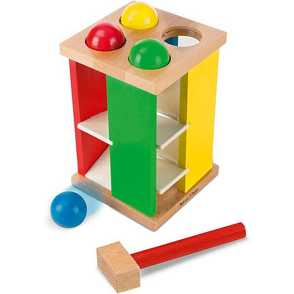 Игра с молотком Melissa & DougДеревянные игрушки<br>Характеристики товара:<br><br>• возраст: от 2 лет;<br>• материал: дерево;<br>• размер упаковки: 27х14х14 см;<br>• вес упаковки: 1000 гр.;<br>• страна бренда: США.<br><br>Чтобы научить ребенка меткости, можно предложить ему увлекательное развлечение с использованием этого игрового набора. Ведь, чтобы шарик опустился и скатился по жердочкам вниз, крохе придется постучать по нему специальным молоточком из комплекта. От его усилий и координации движений зависит насколько быстро игровой аксессуар окажется в нижней части конструкции.<br><br>Игра с молотком Melissa  Doug можно купить в нашем интернет-магазине.