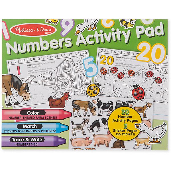 Набор стикеров Melissa & Doug Цифры, наклейки, раскраскиКнижки с наклейками<br>Характеристики товара:<br><br>• возраст: от 4 лет;<br>• материал: картон;<br>• в комплекте: сцены фермы, 230 стикеров;<br>• размер упаковки: 36х27х10 см;<br>• вес упаковки: 200 гр.;<br>• страна бренда: США.<br><br>Научить ребенка считать от 1 до 20 теперь можно играючи, ведь именно увлекательное развлечение будет напоминать процесс заполнения изображений фермы из набора красочными стикерами. Но наклейки надо не только разместить в правильном месте, а еще и посчитать каждую.<br><br>Набор стикеров Melissa  Doug Цифры, наклейки, раскраски можно купить в нашем интернет-магазине.