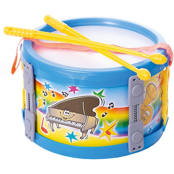 Барабан малый Marek 17 см, синийБарабаны<br>Характеристики:<br><br>• возраст: от 3 лет;<br>• цвет: синий;<br>• размер игрушки: 17 см;<br>• материал: пластик, текстиль;<br>• комплектация: барабан, пара палочек;<br>• вес: 130 гр;<br>• размер: 17x11х17 см;<br>• страна бренда: Польша;<br>• бренд:  Marek.<br><br>Барабан большой синий Marek  17 см  исполнен в красивом синем цвете, оснащен удобной лямкой и оформлен красочными изображениями. Дети очень любят дополнять свои игры различными шумовыми и музыкальными эффектами, и данный инструмент отлично для этого подходит. По дизайну и звучанию игрушка очень схожа с настоящим ударным атрибутом, что привлечет внимание любого ребенка. <br><br>Барабан большой синий Marek  17 см можно купить в нашем интернет-магазине.