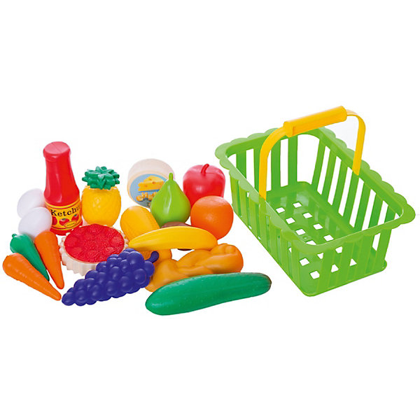 Игровой набор Dohany Овощи и фрукты в большой корзине, зелёныйИгрушечные продукты питания<br>Характеристики:<br><br>• возраст: от 3 лет;<br>• цвет: зеленый;<br>• материал: пластик;<br>• вес: 100 гр;<br>• размер: 27x18х14  см;<br>• страна бренда: Венгрия;<br>• бренд:  DOHANY.<br><br>Набор овощи+фрукты в корзине большая DOHANY - -это прекрасный подарок для ребенка. Набор придется по душе маленьким хозяйкам. Набор поможет ребенку узнать названия фруктов и овощей, развить фантазию и воображение, а также станет хорошим дополнением к игрушечной кухне. Девочкам понравится использовать фрукты и овощи для сервировки стола и для игры в «магазин». Игрушка изготовлена  из высококачественного, экологически безопасного пластика, соответствующего всем стандартам, санитарным требованиям и нормам, предъявляемым к продукции детского назначения.<br><br> Набор овощи+фрукты в корзине большая DOHANY можно купить в нашем интернет-магазине.<br>Ширина мм: 270; Глубина мм: 180; Высота мм: 140; Вес г: 100; Цвет: зеленый; Возраст от месяцев: 36; Возраст до месяцев: 2147483647; Пол: Унисекс; Возраст: Детский; SKU: 8430947;