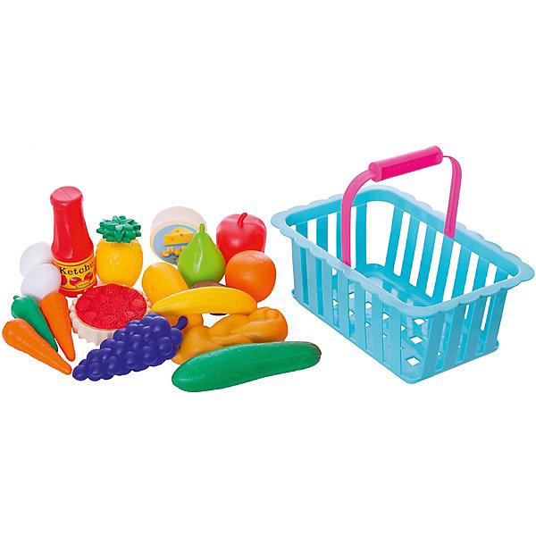 Купить Игровой набор Dohany Овощи и фрукты в большой корзине, голубой, Венгрия, Унисекс