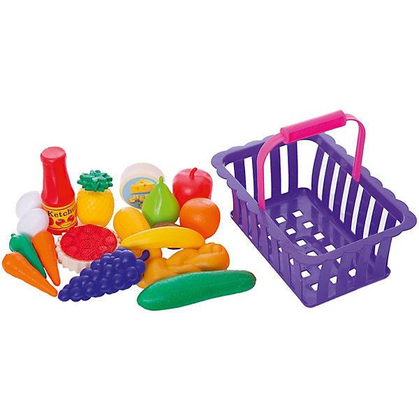 Купить Игровой набор Dohany Овощи и фрукты в большой корзине, бордовый, Венгрия, Унисекс