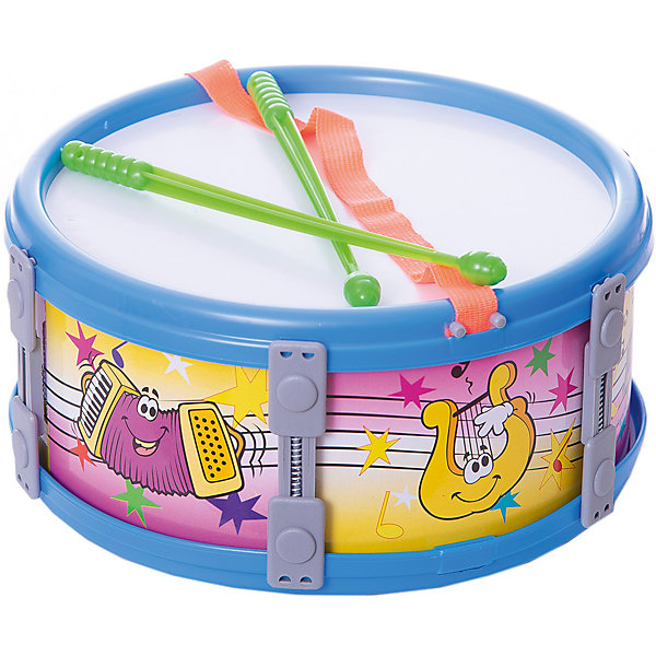 Барабан большой Marek 23 см, синийБарабаны<br>Характеристики:<br><br>• возраст: от 3 лет;<br>• цвет: синий;<br>• размер игрушки: 23 см;<br>• материал: пластик, текстиль;<br>• комплектация: барабан, пара палочек;<br>• вес: 220 гр;<br>• размер: 23x11х23 см;<br>• страна бренда: Польша;<br>• бренд:  Marek.<br><br>Барабан большой синий Marek  23 см  исполнен в красивом синем цвете, оснащен удобной лямкой и оформлен красочными изображениями. Дети очень любят дополнять свои игры различными шумовыми и музыкальными эффектами, и данный инструмент отлично для этого подходит. По дизайну и звучанию игрушка очень схожа с настоящим ударным атрибутом, что привлечет внимание любого ребенка. <br><br>Барабан большой синий Marek  23 см можно купить в нашем интернет-магазине.