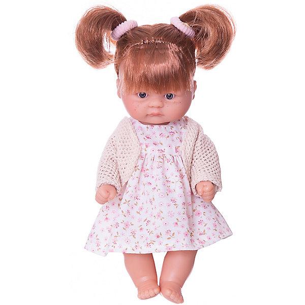 Кукла Asi Пупсик в платье и болеро, 20 смКуклы<br>Характеристики:<br><br>• возраст: от 3 лет;<br>• материал: 100% винил, текстиль;<br>• комплектация: кукла, платье, кофточка;<br>• высота куклы: 20 см;<br>• вес: 250 гр;<br>• размер: 24x14х7,5 см;<br>• страна бренда: Испания;<br>• бренд:  ASI.<br><br>Кукла ASI «Пупсик», 20 см - новинка Испанского кукольного дома ASI всего 20 см, так и хочется взять ее на ручки и поиграть с ним. Милая рыжеволосая девочка с двумя хвостиками, с веснушками, ротик закрыт, выполнена из винила, можно купать. Одета в цветочное платьице и бежевую кофточку-болеро.<br><br>Малышка выполнена весьма натуралистично с соблюдением пропорций тела, тщательно проработаны все черты лица: выразительные глазки с пушистыми ресницами, пухленькие щёчки.<br><br>Куклу ASI «Пупсик», 20 см можно купить в нашем интернет-магазине.<br>Ширина мм: 240; Глубина мм: 140; Высота мм: 750; Вес г: 25; Цвет: разноцветный; Возраст от месяцев: 36; Возраст до месяцев: 2147483647; Пол: Женский; Возраст: Детский; SKU: 8433032;