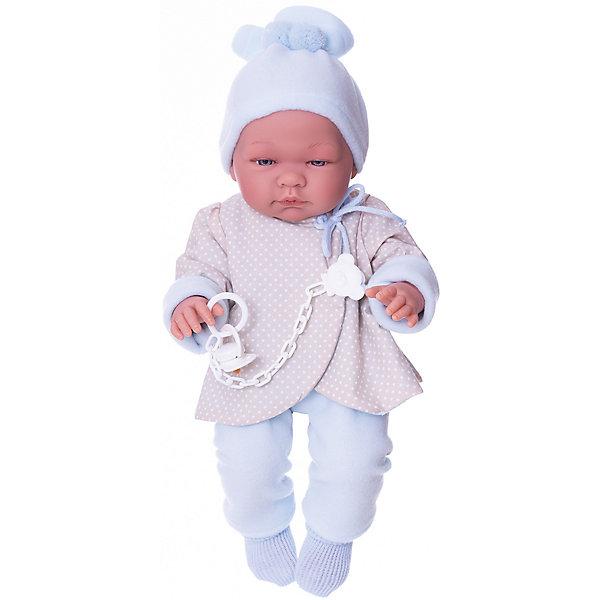 Кукла-реборн Asi Пабло в голубом костюмчике, 43 смКуклы<br>Характеристики:<br><br>• возраст: от 3 лет;<br>• материал: 100% винил, текстиль, пластик;<br>• комплектация: кукла, одежда, соска;<br>• у куклы ярко-выраженые половые признаки;<br>• высота куклы: 43 см;<br>• вес: 1350 гр;<br>• размер: 52x25х16 см;<br>• страна бренда: Испания;<br>• бренд:  ASI.<br><br>Кукла ASI «Пабло», 43 см подходит девочкам старше трехлетнего возраста. Она представляет собой игрушечного пупса-мальчика размером 43 см. Игрушка относится к категории реборнов, а это значит, что она весьма натурально выполнена и имеет колоссальное сходство с настоящим новорожденным. <br><br>Лицо пупса детально проработано, у него даже присутствуют реалистичные складочки под глазами, а также около носа и рта. На его глазах можно рассмотреть реснички.<br><br>Игрушка полностью изготовлена из особого, высококачественного винила. Он приятен к восприятию и допускает использование игрушки в ванной при купании. Пупс одет в красивую курточку серо-голубого цвета в горошек, а также штанишки. На голове у него – шапочка, а на ногах – носочки. Дополнительным аксессуаром, поставляемым в комплекте с куклой, является соска на прищепке, которая крепится непосредственно к одежде малыша.<br><br>Куклу ASI «Пабло», 43 см можно купить в нашем интернет-магазине.<br>Ширина мм: 520; Глубина мм: 250; Высота мм: 160; Вес г: 135; Цвет: разноцветный; Возраст от месяцев: 36; Возраст до месяцев: 2147483647; Пол: Женский; Возраст: Детский; SKU: 8433048;