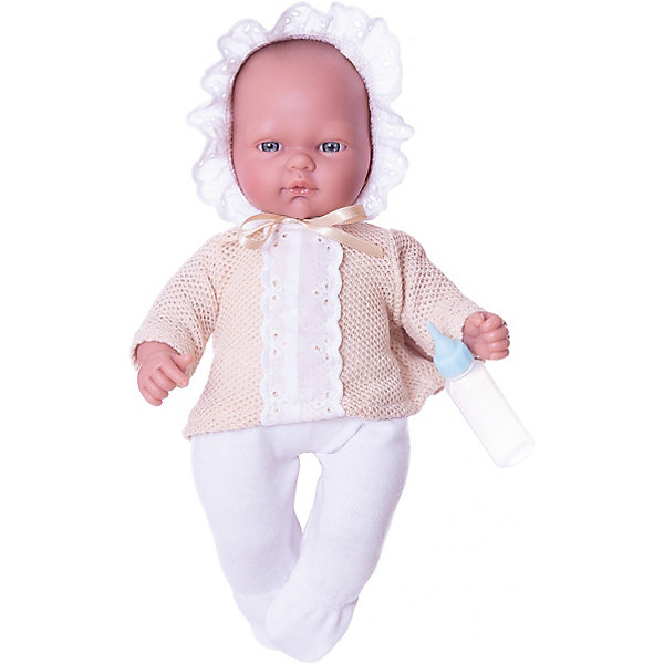 Кукла-пупс Asi Оли с бутылочкой, 30 смКуклы<br>Характеристики:<br><br>• возраст: от 3 лет;<br>• материал: винил, текстиль;<br>• комплектация: кукла, одежда, бутылочка;<br>• высота куклы: 30 см;<br>• вес: 50 гр;<br>• размер: 24x13х38 см;<br>• страна бренда: Испания;<br>• бренд:  ASI.<br><br>Кукла ASI «Оли», 30 см  словно настоящий младенец, поэтому ребёнку будет интересно играть с ним в сюжетно-ролевую игру «дочки-матери». Малышка выполнена весьма натуралистично с соблюдением пропорций тела, тщательно проработаны все младенческие складочки на теле, ямочки на коленях и припухлость щёчек, маленькие пальчики с крошечными ноготками.<br>Одета малышка в белоснежные ползунки и нарядную кофточку бежевого цвета с отделкой из кружевной ленты. <br><br>На голове у Оли - чепчик на завязках, декорированный ажурными рюшами. Подвижные части тела куколки позволяют принимать ей различные позы в процессе игры. Тело куклы выполнено из текстиля с мягким наполнителем, а ножки, ручки и личико из высококачественного эластичного винила.  К кукле прилагается бутылочка, используя которую можно имитировать кормление младенца.<br><br>Куклу ASI «Оли», 30 см можно купить в нашем интернет-магазине.<br>Ширина мм: 380; Глубина мм: 240; Высота мм: 130; Вес г: 50; Цвет: разноцветный; Возраст от месяцев: 36; Возраст до месяцев: 2147483647; Пол: Женский; Возраст: Детский; SKU: 8433054;