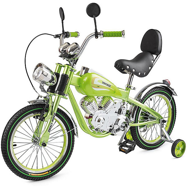 Small Rider Двухколёсный велосипед-мотоцикл Small Rider Motobike Vintage 16, зелёный велосипед двухколесный navigator superman 16