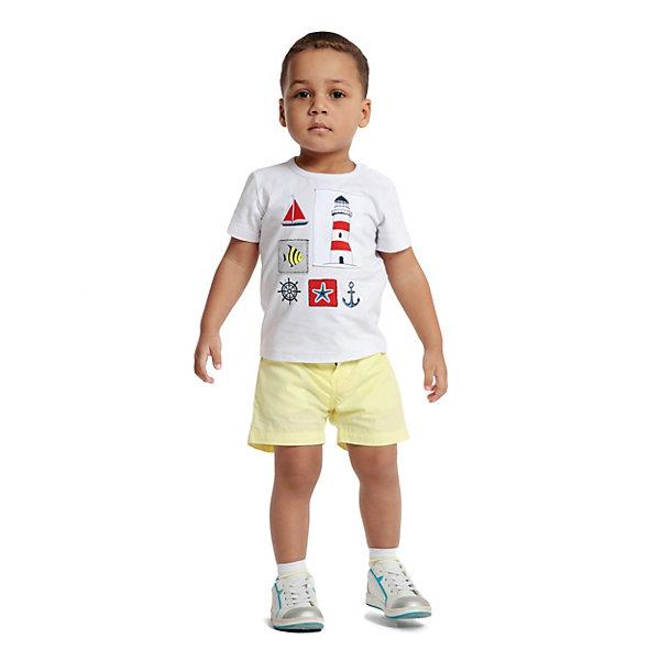 Футболка PlayToday для мальчикаФутболки, поло и топы<br>Характеристики товара:<br><br>• цвет: белый;<br>• состав ткани: 95% хлопок, 5% эластан;<br>• сезон: лето;<br>• застежка: кнопки; <br>• короткие рукава; <br>• страна бренда: Германия.<br><br>Детская одежда от бренда PlayToday - это стильные и доступные вещи. Трикотажная мягкая футболка для детей оригинально оформлена принтом и аппликациями, на горловине - мягкая трикотажная резинка. Оригинальная детская футболка создана специально для малышей: она легко надевается благодаря кнопкам на плече. Эта футболка для ребенка выполнена из легкого хлопкового трикотажа, гипоаллергенного, позволяющего коже дышать. <br><br>Футболку PlayToday (ПлэйТудэй) для мальчика можно купить в нашем интернет-магазине.<br>Ширина мм: 199; Глубина мм: 10; Высота мм: 161; Вес г: 151; Цвет: белый; Возраст от месяцев: 12; Возраст до месяцев: 18; Пол: Мужской; Возраст: Детский; Размер: 86,80,98,92,74; SKU: 8435938;
