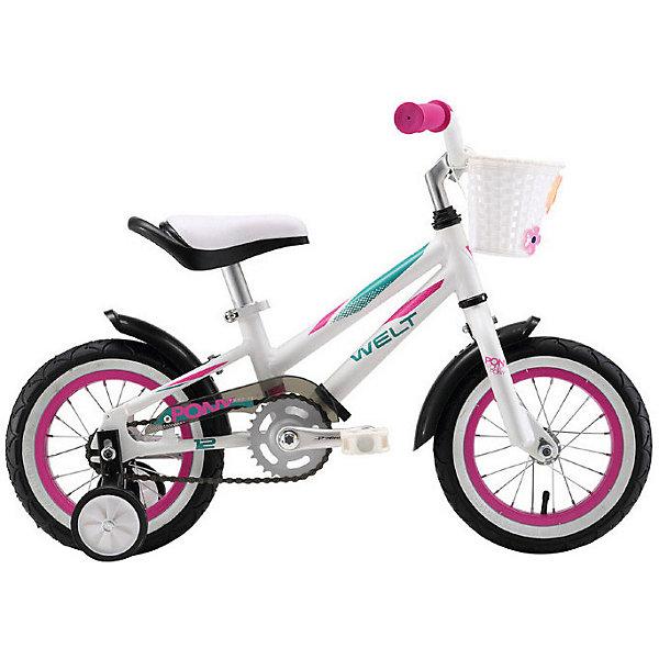Двухколёсный велосипед Welt Pony 12, белый/фиолетовыйВелосипеды и аксессуары<br>Характеристики:<br><br>• возраст: от 2 лет;<br>• материал: алюминий, пластик;<br>• в комплекте: корзина, съемные колеса, крылья;<br>• регулируемая высота сиденья;<br>• регулируемая высота руля;<br>• рулевая колонка: 1-дюймовая резьбовая;<br>• тип тормоза: ножной;<br>• тормоз: coaster;<br>• система: Prowheel 3 pcs alloy;<br>• кассета: 18T integrated;<br>• рама: Alloy 6061;<br>• диаметр колес: 12 дюймов;<br>• покрышки: Wanda 1021 16х2,125;<br>• количество скоростей: 1;<br>• жесткая вилка Rigid;<br>• каретка: small BB;<br>• вес упаковки: 7,2 кг.;<br>• размер упаковки: 120х50х90 см;<br>• страна бренда: Австрия.<br><br>Велосипед Welt Pony обладает стильным дизайном и продуманной конструкцией. Ребенку проще научиться кататься на двухколесном транспорте благодаря дополнительным опорным колесам. Сиденье и руль регулируются по высоте, на цепи есть пластиковая защита для предотвращения попадания одежды в механизм.<br><br>Крылья уберегут ребенка от брызг в дождливую погоду. Ручки руля оснащены противоударными ограничителями. На руль крепится вместительная корзинка. Эта модель отличается хорошей проходимостью по неровной дороге. Чтобы затормозить, достаточно крутить педали в обратную сторону. Велосипед сделан из прочных качественных материалов.<br><br>Велосипед Welt Pony, 12 можно купить в нашем интернет-магазине.<br>Ширина мм: 1200; Глубина мм: 500; Высота мм: 900; Вес г: 7100; Цвет: разноцветный; Возраст от месяцев: 24; Возраст до месяцев: 60; Пол: Унисекс; Возраст: Детский; SKU: 8437419;