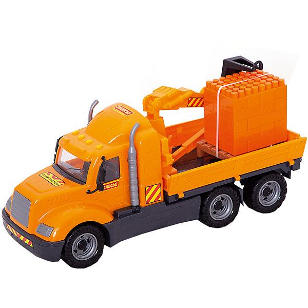 Машинка Полесье Майк Автомобиль-кран с манипулятором + конструктор Супер-Микс 30 деталей, в коробкеМашинки<br>Характеристики:<br><br>• возраст: от 3 лет;<br>• материал: пластик;<br>• в наборе: кран, конструктор из 30 деталей;<br>• размер игрушки: 54,5х19,2х32 см;<br>• вес упаковки: 200 гр.;<br>• размер упаковки: 53,5х20х26 см;<br>• страна бренда: Беларусь.<br><br>Набор Polesie включает погрузочную машину и сам груз, который состоит из кирпичиков конструктора. Автомобиль реалистично копирует настоящую технику, окрашен в соответствующие цвета, части кузова прорисованы. <br><br>Кран оснащен манипулятором, который можно поднимать и опускать, забирая груз. Машинка имеет ходовые колеса, подходит для игр дома и на улице. Сделано из качественного безопасного пластика.<br><br>Автомобиль-кран с манипулятором «Майк» и конструктор «Супер-Микс» 30 элем. на поддоне (в коробке) можно купить в нашем интернет-магазине.<br>Ширина мм: 535; Глубина мм: 200; Высота мм: 260; Вес г: 200; Цвет: оранжевый; Возраст от месяцев: 36; Возраст до месяцев: 2147483647; Пол: Мужской; Возраст: Детский; SKU: 8444108;