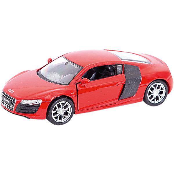 Модель машины 1:34-39 Audi R8, Welly, краснаяМашинки<br>Характеристики товара:<br><br>• возраст: от 3 лет;<br>• из чего сделана игрушка (состав): металл, пластик;<br>• модель: Audi R8;<br>• масштаб: 1:37;<br>• размер упаковки: 14,5х6х11,5 см.;<br>• вес: 146 гр.;<br>• упаковка: ярлык.<br><br>Коллекционная модель машины Audi R8 из серии Welly обладает высокой реалистичностью за счет двигающихся элементов - открываются двери и багажник, а также детальной проработки корпуса. <br><br>Автомобиль снабжен инерционным механизмом, что позволяет ему ускоряться вперед при малейшем усилии.<br><br>Настоящая радость для ребенка, особенно если он неравнодушен к технике и скорости.<br><br>Модель машины Audi R8 Welly можно купить в нашем интернет-магазине.<br>Ширина мм: 145; Глубина мм: 60; Высота мм: 115; Вес г: 146; Цвет: красный; Возраст от месяцев: 36; Возраст до месяцев: 192; Пол: Мужской; Возраст: Детский; SKU: 8444307;