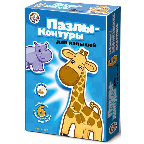 Пазлы-контуры Десятое королевство Африканские животныеПазлы для малышей<br>Характеристики:<br><br>• возраст: от 5 лет;<br>• ISBN: 4606088012940;<br>• материал: полимер, картон;<br>• вес: 1,1 кг;<br>• размер: 28x20х2 см;<br>• страна бренда: Россия;<br>• бренд: Десятое королевство.<br><br>Пазлы-контуры «Африканские животные» - это обучающая игра, помогающая развивать у ребенка воображение, образное мышление и память уже с первых лет его жизни. Собирая картинки, Ваш малыш научится сопоставлять часть и целое, концентрировать внимание и доводить начатое дело до конца.<br><br>Крупные детали пазла выполнены из маркого экологически чистого материала. Они имеют плотную и надежную фиксацию между собой. Благодаря такому сможет играть готовыми фигурками, передвигая их в пространстве. Рассмотрите фигурки вместе с ребенком, расскажите ему о каждом животном: где он живет, что умеет делать, чем питается, какие издает звуки и т.д.<br><br>Пазлы-контуры «Африканские животные» можно купить в нашем интернет-магазине.