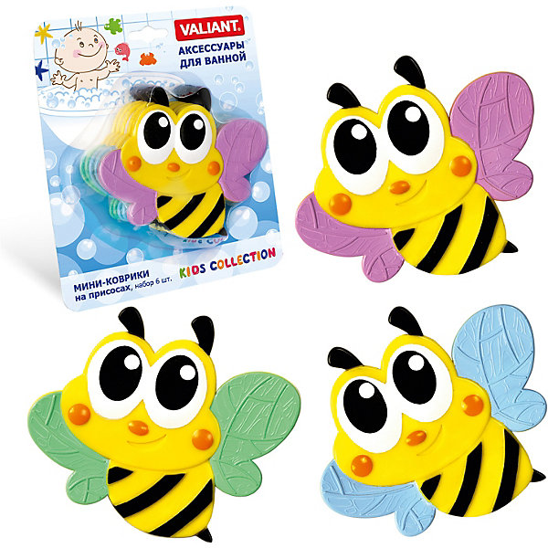 Мини-коврики для ванной на присосках Valiant Пчёлка 6 шт.Товары для купания<br>Характеристики:<br><br>• возраст: от 3 лет<br>• в наборе: 6 мини-ковриков<br>• материал: винил<br>• размер упаковки: 17х20 см.<br><br>Мини-коврики станут ярким цветовым пятном и надежной противоскользящей опорой на поверхности ванны, на кафельной плитке или стенке душевой кабины.<br><br>С яркими и забавными пчелками купание ребенка станет увлекательным и более безопасным, а ванная комната преобразится.<br><br>Поверхность мини-ковриков мягкая и приятная на ощупь. На оборотной стороне расположены специальные эластичные присоски, благодаря им коврики надежно крепятся к поверхности ванны или плитки.<br><br>Мини-коврики для ванной на присосках Valiant Пчёлка 6 шт. можно купить в нашем интернет-магазине.<br>Ширина мм: 170; Глубина мм: 200; Высота мм: 50; Вес г: 190; Цвет: разноцветный; Возраст от месяцев: 36; Возраст до месяцев: 72; Пол: Унисекс; Возраст: Детский; SKU: 8450950;